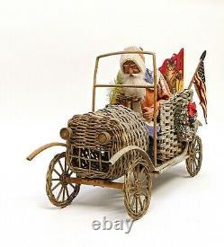 Retro Vintage Santa in Wicker Automobile with Mica Snow & Gifts German Christmas