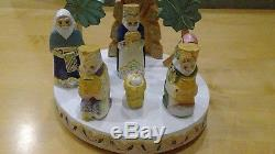 Russian Christmas Nativity Scene Set 7 Figures Hand Carved & Painted Signed Wood