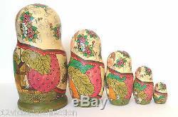 Russian Fairytale Story TURNIP Hand Painted Nesting Doll Original ARTWork Signed