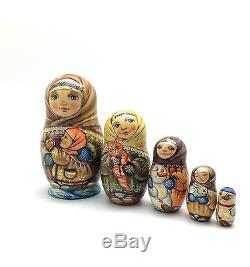 Russian Winter Girl Hand Carved Hand Painted UNIQUE Nesting Doll Set