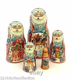 SANTA Russian Hand Carved Hand Painted Nesting Doll Christmas Gift