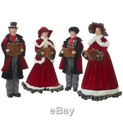 SET of 4 CAROLERS Black Plaid 18 Christmas Raz Imports Plaid Tidings 3752991