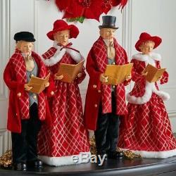 SET of 4 CAROLERS Red Cheer 18 Christmas Raz Imports 3700773