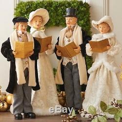 SET of 4 VICTORIAN CAROLERS Family Elegant Fabric 18.5 Christmas Raz 3700781