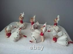 SET of 6 Vtg INARCO E-1265 Xmas Poinsettia Big Bow Bloomer Girl Figurines MINT