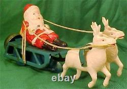 Santa Claus on Sleigh Windup Toy Celluloid Christmas Reindeer Bell Works Vintage