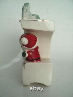 Santa Claus train Christmas Wall pocket planter Noel Smoke on top Japan vintage