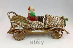 Santa in Wicker Car pre- 1920's Belsnickel Candy Holder Hand Made in Germany