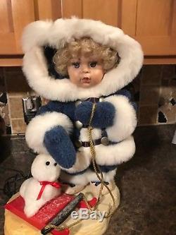 Santa's Best Animated Baby Girl Doll Christmas Figures No Longer Made, Rare