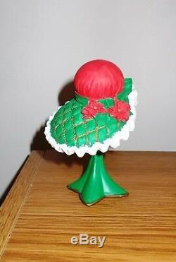 Set 6 Victorian Holiday Ornaments Dress Shoe Umbrella Handbag Hat & Stand Mint
