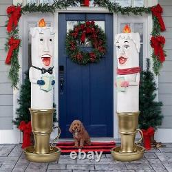 Set of 2 Christmas Candlestick Carolers Holiday Giant Size Christmas Sculpture