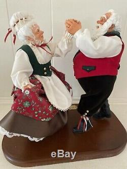 Simpich Oh Be Joyful Rare Dancing Santa Mrs. Clause Christmas Figurine Dolls