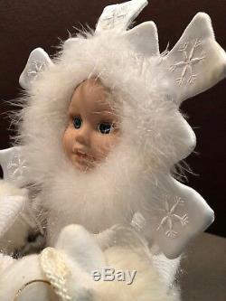 Snowflake Baby Babies Musical Animated Figure baby on sled with polar bear RARE