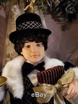 telco animated victorian girlboy doll motionette christmas figure - Animated Christmas Dolls
