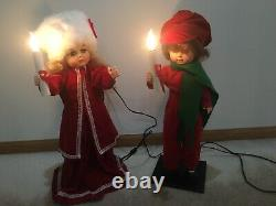 TELCO Motion-ette Christmas Victorian Caroler Boy and Girl with Candles Vintage
