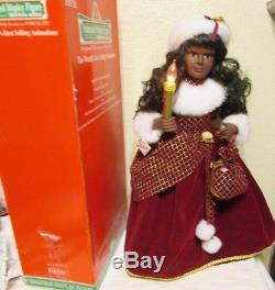 TELCO Motion-ettes Animated African American Girl Caroler lighted Christmas 24