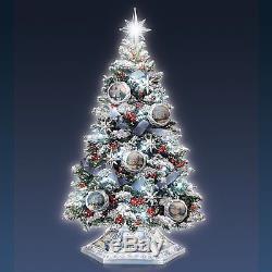 thomas kinkade holiday lifelike lighted christmas tree holiday decor new