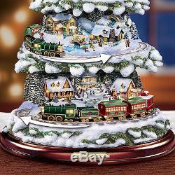 Thomas Kinkade Moving & Lighted Christmas Tree Holiday Decor New