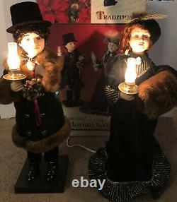 TRADITIONS ANIMATED VICTORIAN COUPLE Christmas Animated Moving Figures Tested