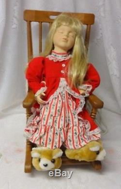 Telco Motion-ette Pajamas Girl Awaiting Christmas Santa Sleep in Rocking Chair