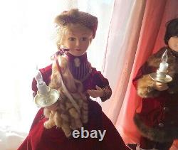 Telco Motionette Christmas Victorian Dress Lady Girl & Man Boy Animated Figures