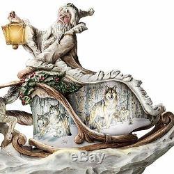 The White Wolves Spirit Guide Santa Sleigh Lighted Christmas Sculpture NEW