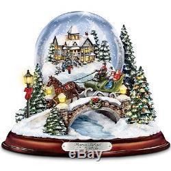 Thomas Kinkade Lighted & Musical Snow Globe Christmas Sculpture Holiday Statue