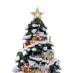 Thomas Kinkade Lighted Snow Covered Christmas Tree Sculpture Holiday Statue New