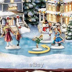 Thomas Kinkade Sculpture Animated Lights and Sounds Christmas Statue Holiday NEW