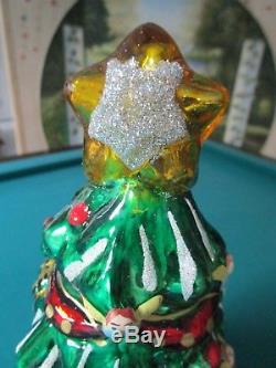 Thomas Pacconi Large 16 1/2 Christmas Tree Glass Blown Table Ornament