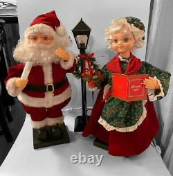 Trim A Home Mr & Mrs Santa Claus & Lamp Post Animated Lighted Christmas Figures