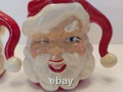 VTG 1950s 60s 7 in WINKING SANTA PITCHER 2 MUGS / CUPS Christmas Hot Cocoa Set