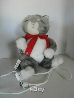 VTG 1986 Telco Motion-ette Animated Christmas Striped Cat Plush 15''Tall WithTag