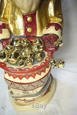 Vaillancourt Folk Art Gold Father Christmas Bell Rings