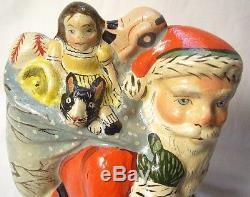 Vaillancourt Folk Art Santa with Tree Decorated bag signed Judi