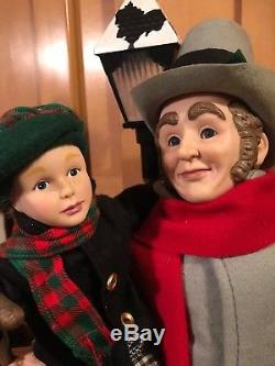 Very Rare Holiday Creations Bob Cratchit An Tiny Tim Lighted Animated Motionett