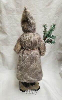 Vintage 1900's Saint Nicholas Santa with Mohair Coat Christmas Candy Container 23