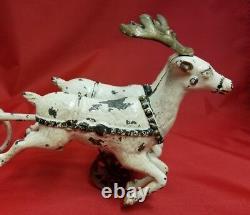 Vintage 1906 Hubley Santa on Sleigh Reindeer Cast Iron Vintage Christmas