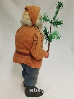 Vintage 1920's German Santa Woodcutter Paper Mache Candy Container 14
