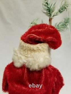 Vintage 1920's Santa Woodcutter Paper Mache Mohair Lambswool Candy Container 12