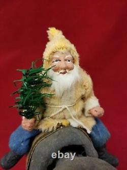 Vintage 1920s German Santa on Elephant Nodder H & T Christmas Saint Nickolas