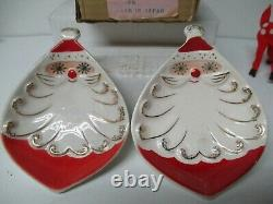 Vintage 1959 Holt Howard Christmas Starry Eye Santa Treat Trays in Original Box