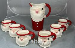 Vintage 1959 Holt Howard Winking Santa Pitcher and Mug Complete Set
