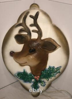 Vintage 1972 Union Products Lighted Rudolph Reindeer Ornament Blow Mold- RARE