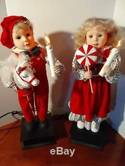 Vintage 24 Animated & Lighted Christmas Boy & Girl Holiday Creations 1993