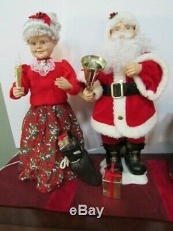 Vintage 24 Mr & Mrs Santa Claus Telco Animated Illuminated Motionette
