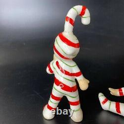Vintage (3) 1950's Lefton Christmas Candy Cane Kid Pixie Elf Ceramic Figurine
