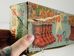 Vintage 30s 40s Rosbro Rosen Christmas Santa Claus Boots x8 with Box