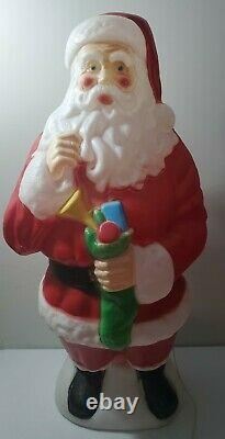 Vintage 42 Inch Tall Plastic Blow Mold Lighted Santa Claus Stocking by Empire