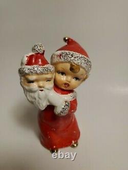 Vintage A FINE QUALITY Christmas SUPER RARE Angel Girl Holding Santa Mask Japan